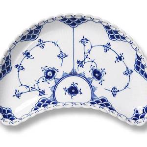Blue Fluted, Full Lace, Half Moon Shape Pickle Dish 22cm