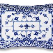 Blue Fluted, Full Lace, Tray with double lace border for sugar bowl and cre...