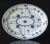 Blue Fluted, Full Lace, oval Serving Dish 30cm