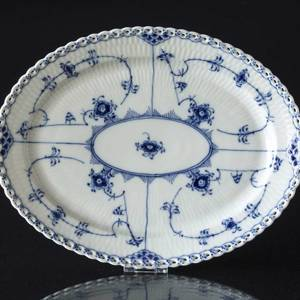 Blue Fluted, Full Lace, oval Serving Dish 30cm | No. 1103374 | Alt. 1-1147 | DPH Trading