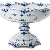 Blue Fluted, Full Lace, Cake Dish on high foot, Royal Copenhagen 29cm