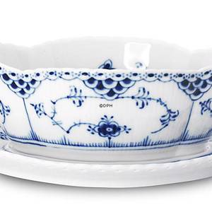 Blue Fluted, Full Lace, Sauce Boat on fixed stand | No. 1103563 | Alt. 1-1105 | DPH Trading