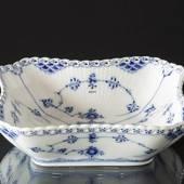 Blue Fluted, Full Lace, square Salad Bowl, capacity 80 cl., Royal Cope...
