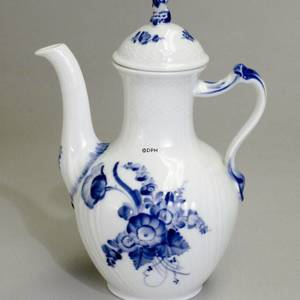 Blue Flower, Curved, Coffee Pot | No. 1106123 | Alt. 10-1517 | DPH Trading