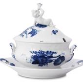 Blue Flower, Curved, oval Sauce tureen with Cover with Figure, Royal C...