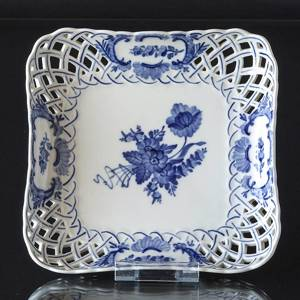 Blue Flower, Curved, Square Cake Dish with openwork rim, Royal Copenhagen ø...