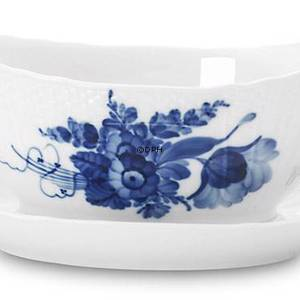 Blue Flower, Curved, Sauce boat on fixed stand, capacity 35 cl., Royal Cope...
