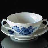 Blue Flower, Braided, Soup cup with saucer, Royal Copenhagen