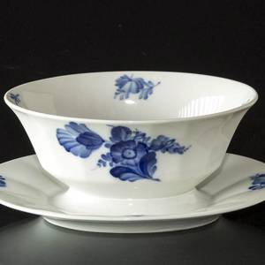 Blue Flower, Angular, Sauce boat on fixed stand
