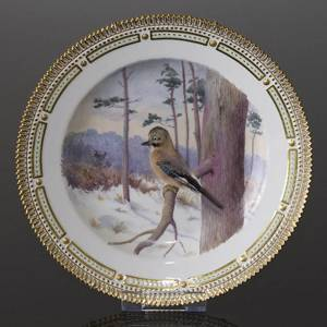 Fauna Danica plate with black headed jay, Royal Copenhagen