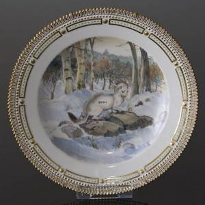 Fauna Danica plate with eremine, Royal Copenhagen