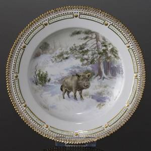 Fauna Danica Hunting Service plate with wild boar, Royal Copenhagen | No. 1141624-8 | DPH Trading