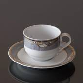 Magnolia, Grey with Gold, Coffee cup and saucer, capacity 19 cl