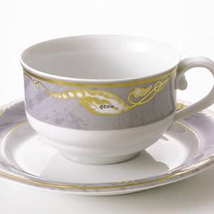 Magnolia, Grey with Gold,Tea cup and saucer, capacity 21 cl, Royal Copenhag...