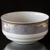Magnolia, Grey with Gold, round Salad Bowl, capacity 175 cl, Royal Copenhag...