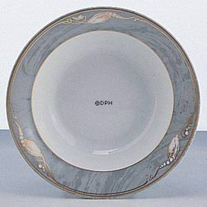 Magnolia, Grey with Gold, Soup Plate, Royal Copenhagen