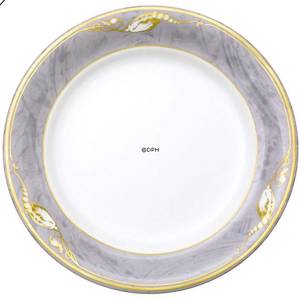 Magnolia, Grey with Gold, Plate, Royal Copenhagen | No. 1211627 | DPH Trading