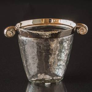 Ice bucket or vase made of chrome and glass, oval