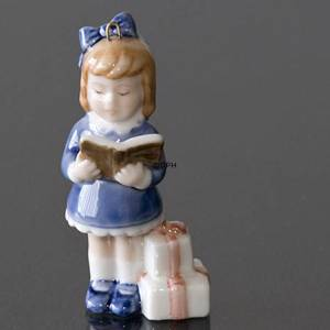 The Childrens Christmas 1999, Figurine Ornament, Girl with book, and presents | Year 1999 | No. 1246737 | DPH Trading