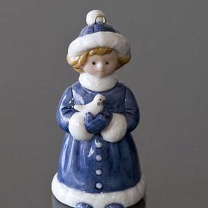 The Childrens Christmas 2001, Figurine Ornament, Girl with bird, Royal Copenhagen | Year 2001 | No. 1246741 | DPH Trading