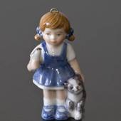 Figurine Ornament 2001, The Children's Christmas, Girl with cat, Sophia, Ro...
