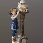 Annual Figurine 2001, Girl at bird table, Royal Copenhagen