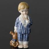 Oscar Boy in pyjamas with Teddy, From the series of mini children from Roya...