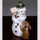 Snowman Father with Broom and Hare, Royal Copenhagen winter figurine