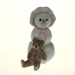 Snowman Girl with Teddy, Royal Copenhagen winter figurine | No. 1249020 | Alt. 1249020 | DPH Trading