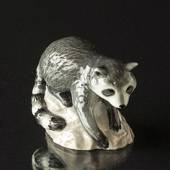 Racoon on Rock looking down, Royal Copenhagen figurine