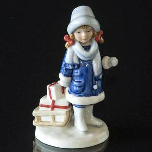 Annual Figurine 2003, Girl with Sledge, Royal Copenhagen