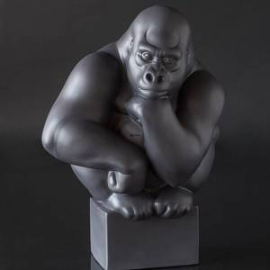 Large black Gorilla Royal Copenhagen monkey figurine | No. 1249084 | DPH Trading