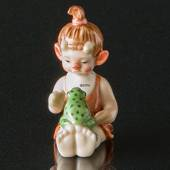 Troll, Little Sister with Frog, Royal Copenhagen figurine
