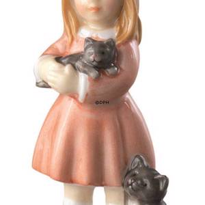 Girl standing with cat, mini figurine