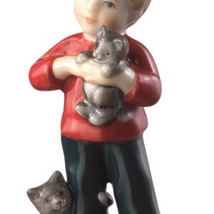 Boy standing with cat, mini figurine Royal Copenhagen | No. 1249123 | DPH Trading