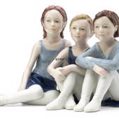 Three ballarinas sitting, Ballerina, Royal Copenhagen figurine