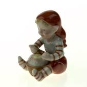 Pixie with rice pudding, Royal Copenhagen Christmas figurine