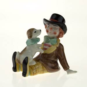 Clown With Dog, Royal Copenhagen figurine from the Mini Circus collection s...