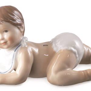 Toddler with diaper trying to crawl, Royal Copenhagen figurine | No. 1249245 | DPH Trading