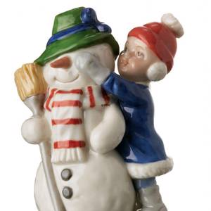 Girl with snowman, Mini Summer and Winter Children, Royal Copenhagen figurine | No. 1249263 | DPH Trading