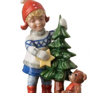 Girl with small christmas tree, Mini Summer and Winter Children, Royal Copenhagen figurine | No. 1249264 | DPH Trading