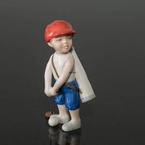 Boy playing golf, Mini Summer and Winter Children, Royal Copenhagen figurine | No. 1249267 | DPH Trading
