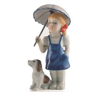 Girl with dog, Mini Summer and Winter Children, Royal Copenhagen figurine | No. 1249269 | DPH Trading