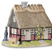 Tealight cottage, village, Royal Copenhagen candlestick