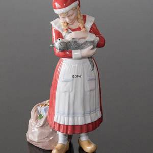Christmas girl petting her cat, Royal Copenhagen Christmas figurine | No. 1249322 | DPH Trading