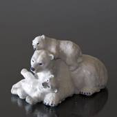 Polar Bear with cubs, Royal Copenhagen figurine