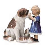 Girl with St. Bernard dog, Royal Copenhagen figurine