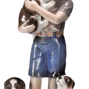 Boy with puppies, Royal Copenhagen figurine | No. 1249362 | DPH Trading