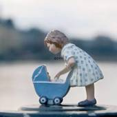 Girl with dolls pram, Royal Copenhagen figurine