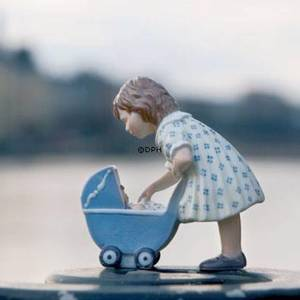 Girl with dolls pram, Royal Copenhagen figurine | No. 1249407 | DPH Trading